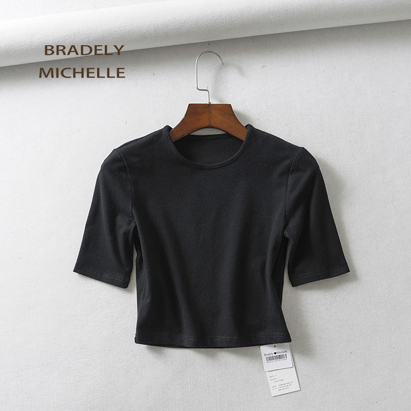 HTB1ugTuaizxK1RkSnaVq6xn9VXaT - BRADELY MICHELLE crop tops for women Sexy female pure cotton o-neck half-length sleeve solid elasticity shirt