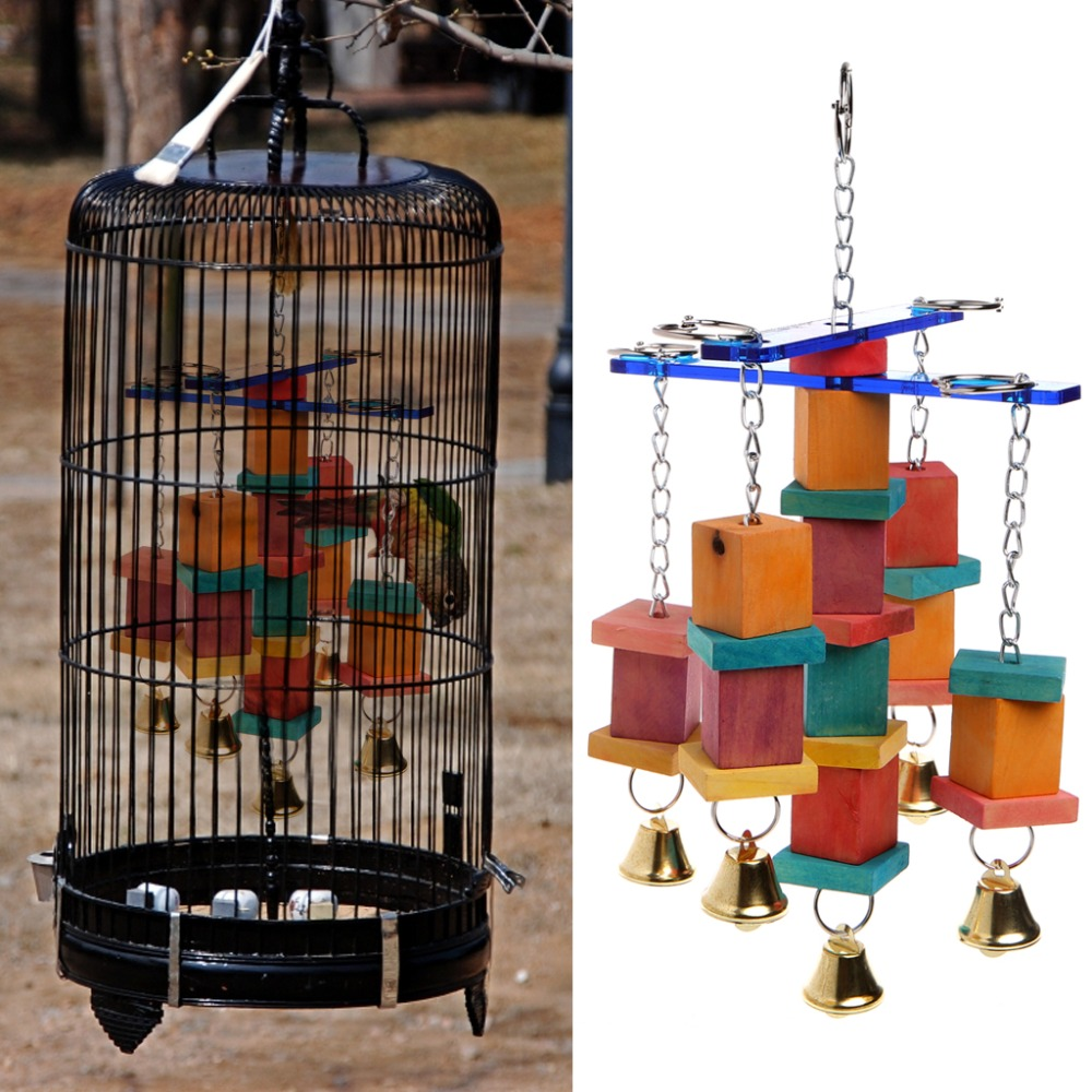 Wood+acrylic Bird Toys Pet Bird Parrot Parakeet Cockatiel Cage Hammock Swing Hanging Chew Wooden Toys 2017 New To Produce An Effect Toward Clear Vision Home & Garden