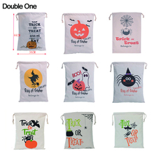 Купить с кэшбэком Halloween Cotton Canvas Drawstring Gift Bag Child Candy Jewelry Gift Pouch Pumpkin Spider Bag of Tricks 1PC