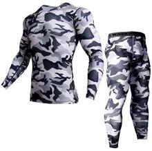 Mens Brand Clothing Army camouflage Thermal Underwear Tracksuit set Crossfit Fitness Shirt Men Leggings 2 piece Rashgarda MMA