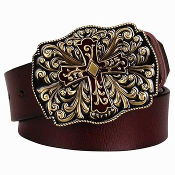 Cinturón de cuero genuino para hombre a la moda CINTURÓN DE Cruz de metal cinturón de cuero de vaca estampado arabesco regalo de hombres para mujeres Jeans cinturones decorativos