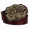 Fashion mens genuine leather belt metal cross belt cowskin Arabesque pattern belt men gift for women Jeans decorative belts