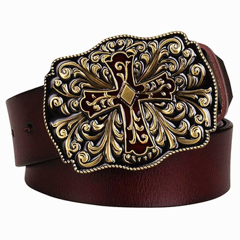 Ceinture en cuir véritable pour hommes | Ceinture croisée en métal, ceinture à motif Arabesque en peau de vache, ceintures décoratives en Jeans cadeau pour femmes