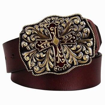 Mode Heren Echt Lederen Riem Metalen Kruis Riem Koeienhuid Arabesque Patroon Riem Mannen Cadeau Voor Vrouwen Jeans Decoratieve Riemen
