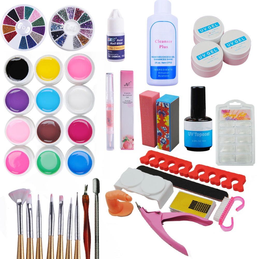 new pro nail gel set nail art kit 36w uv lamp nail gel polish uv gels top coat manicure set nail. Black Bedroom Furniture Sets. Home Design Ideas