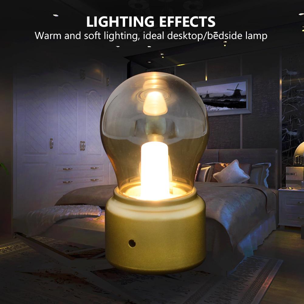 TSLEEN USB Mini Desk Lamp Retro England Style Glass Bulb Rechargeable LED Night Light Golden Lampshade Include Battery