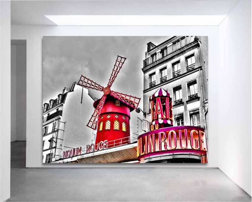beibehang HD France Paris Moulin Rouge black and white color personality photo mural wallpaper background 3d wallpaper free shipping hepburn classic black and white photographs women s clothing store cafe background mural non woven wallpaper