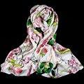 100% la Magia de Seda Pashmina de Las Mujeres Blusa De Seda Peonía 2017 Caliente Pashmina Mantón de Abrigo de la Bufanda de Seda de Seda Superior de Lujo de la Señora de usos múltiples regalo