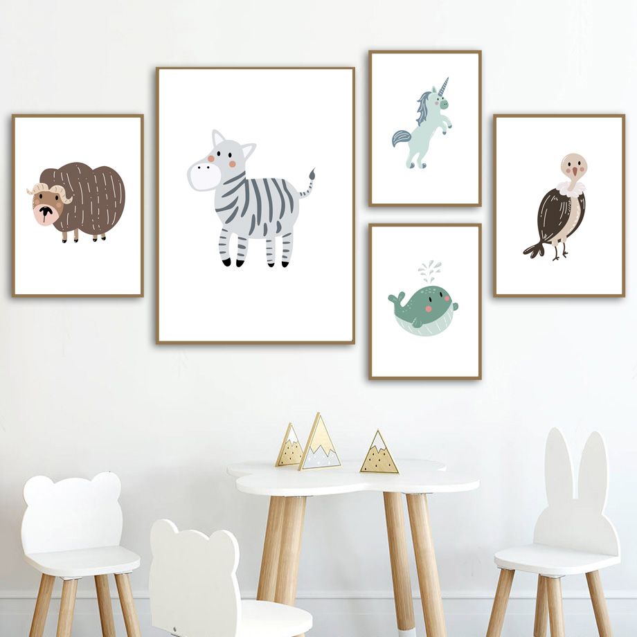 Lion Deer Beer Koala Fox Zebra Rabbit Nursery Wall Art Canvas Painting Nordic Posters And Prints Wall Pictures Kids Room Decor in Painting Calligraphy from Home Garden