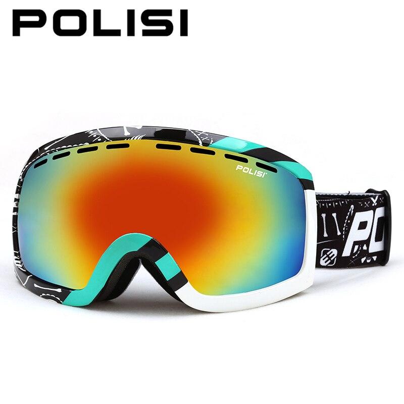 POLISI Ski Snowboard lunettes Anti-buée Double couche grande lentille sphérique neige lunettes 100% Protection UV Skate lunettes de Protection