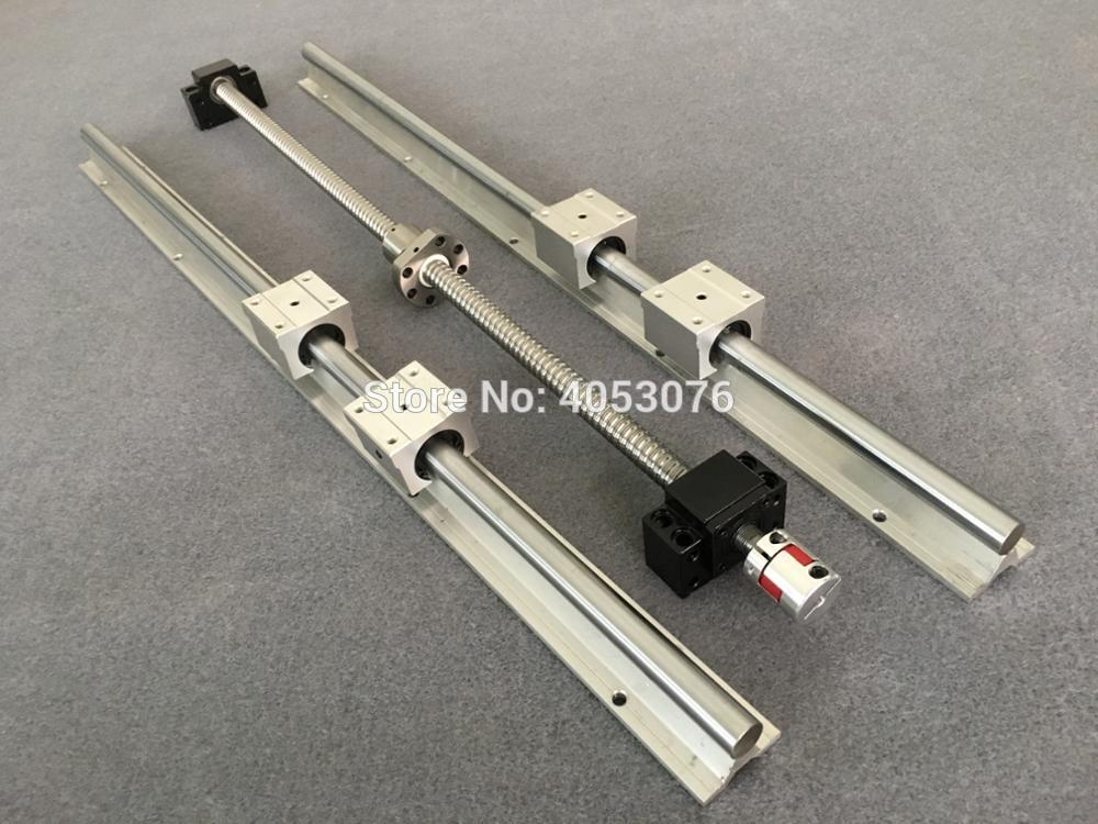 2 SBR16 linear guide way Rail +1 ball screws RM1605+BK/BF12 + nut housing + couplers for CNC router/Milling Machine