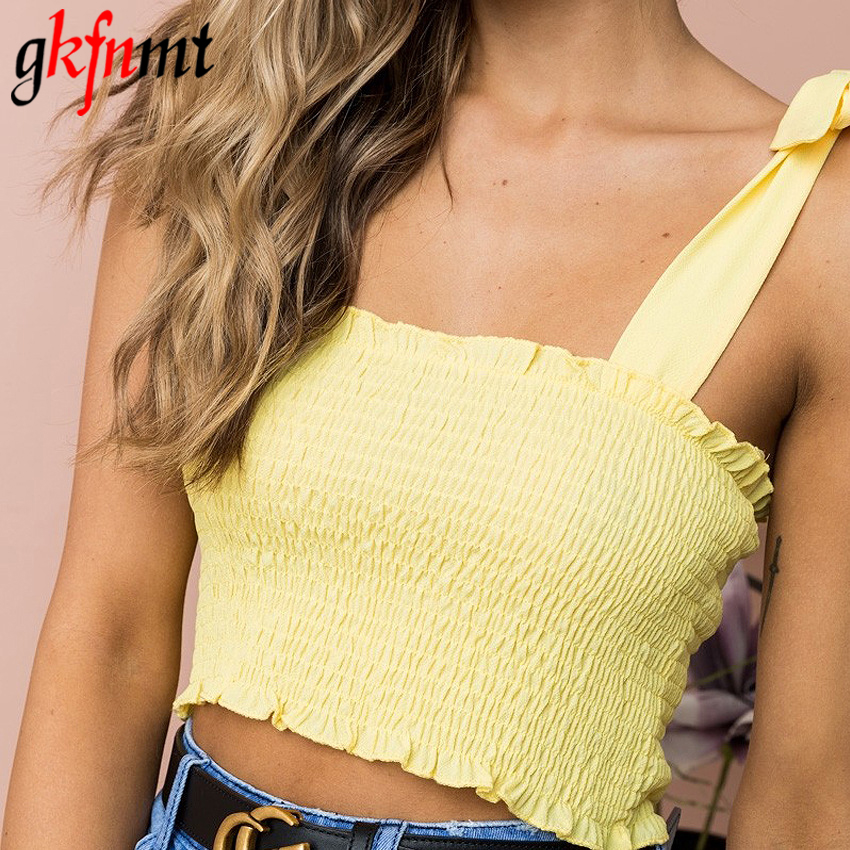 Gkfnmt Solid Tie Bow Chiffon Camis Streetwear Tube Top Ruched Pleated Crop Top Sexy Bustier Tees Feamle Tank Women Fashion Tops