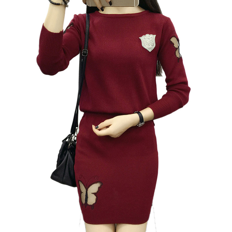 Tracksuit New 2 Piece Set Suit Winter Pullover Sweater Butterfly Hollow European Package Leisure Crop Top And dress AA477