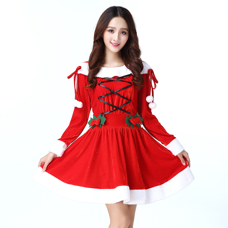 Christmas Acting Dress Women Costume Cosplay Princess for Christmas Party Clothes Lovely Charming One-Piece Dress Girls