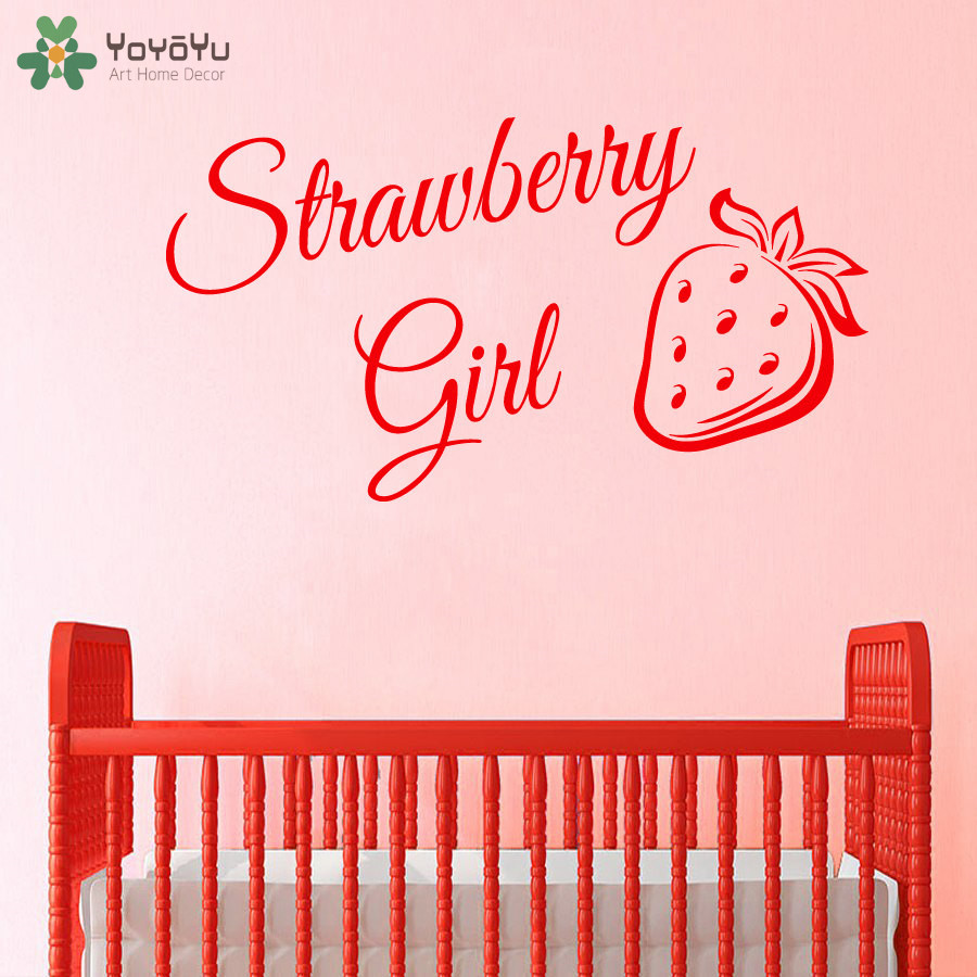 Yoyoyu girls bedroom wall stickers quotes strawberry girl - Childrens bedroom wall stickers removable ...