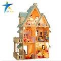 13809 Diy Кукольный Дом С Мебелью Ручной Работы Модель Строительство Комплекты 3D вилла Миниатюрный Деревянный Кукольный Домик Игрушка Подарки ДЕ