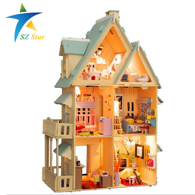 13809 Diy Doll House With Furniture Handmade Model Building Kits 3D villa Miniature Wooden Dollhouse Toy Gifts DE
