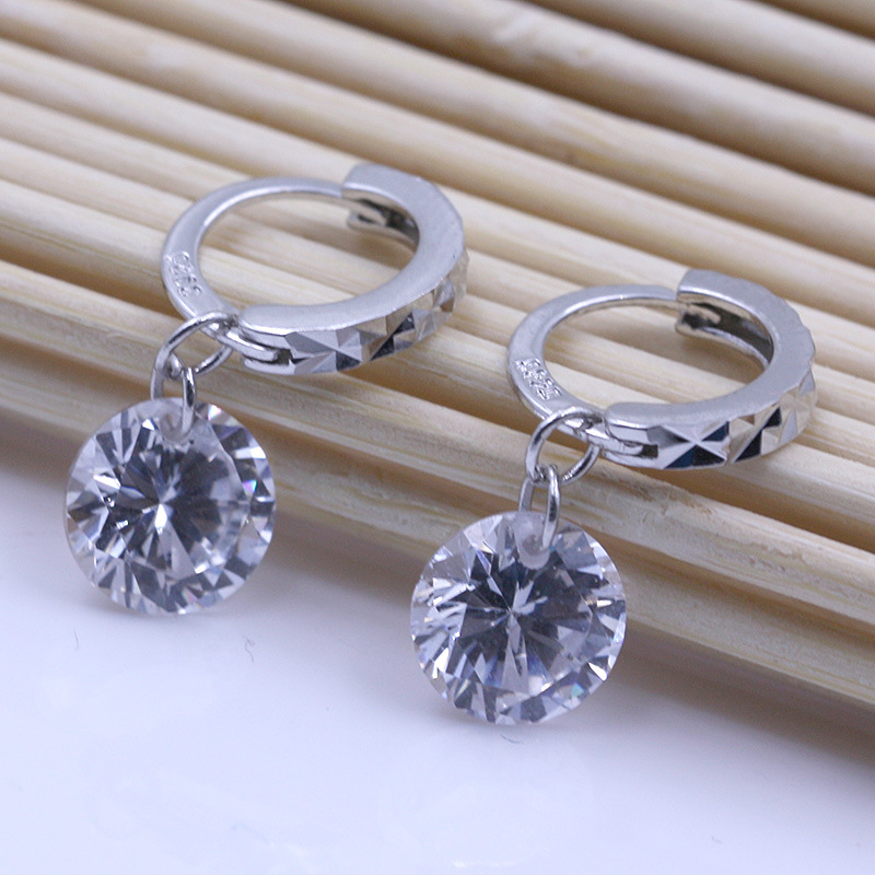 Silver plated super flash crystal circular hoop earrings female fashion cute retro jewelry wholesale