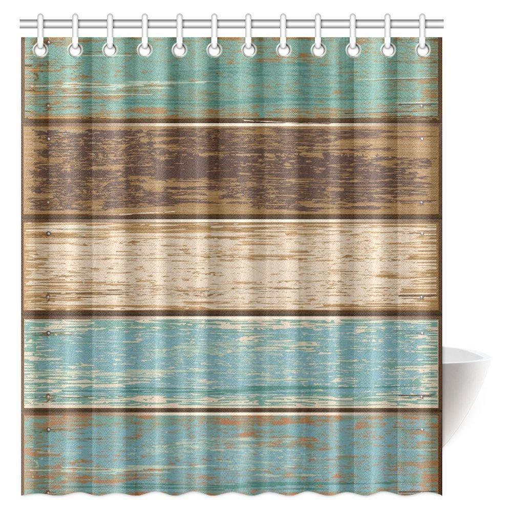 Antique Old Planks American Style Western Rustic Wooden Fabric Bathroom Shower Curtain