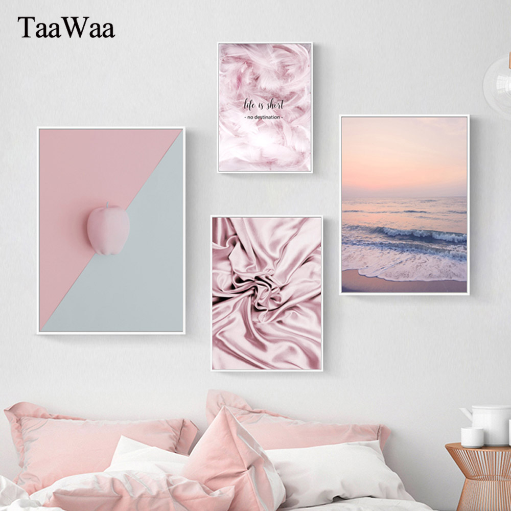 TAAWAA Scandinavian Style Pink Flower Feather Canvas Posters and Prints Wall Art Painting Nordic Pictures Modern Home Decoration
