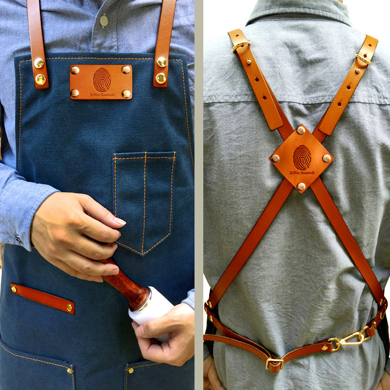 Denim Küche Kochen Schürze mit Einstellbare Baumwolle Band Große Taschen Blau Barista Männer und Frauen Homewear - 2