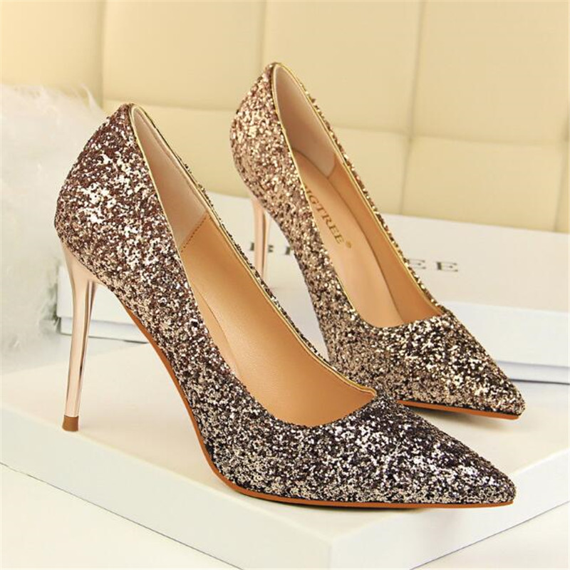 Women 39 s high heels new women 39 s shoes high heeled shallow mouth pointed sexy thin nightclub color gradient sequins single shoes in Women 39 s Pumps from Shoes