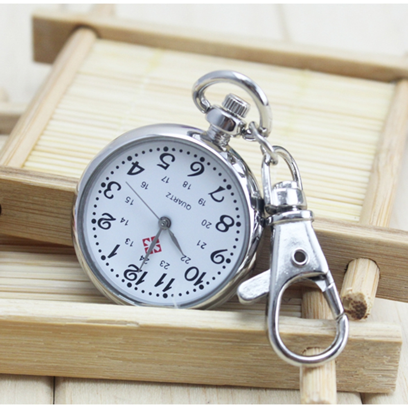 No Waterproof Watches elderly Clear Large Numbers Pocket Watches Keys Holders Watches Student Tests Nurse Watches