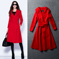 Wool coat pure color overcoat woolen cloth coat the new Europe 2015 women's clothing of cultivate one's morality