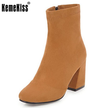 KemeKiss Size 34-43 Sexy Lady High Heel Boots Women Round Toe Solid Color Thick Heels Boot Dating Daily Winter Warm Botas Mujer