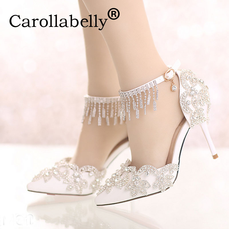 Carollabelly Shoes Women Fashion White Wedding Pumps Sweet White Flower Lace Crystal Pointed Toe High-heeled Wedding Shoes