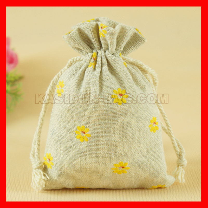100pieces/lot wholesale printed draw string linen gift bag