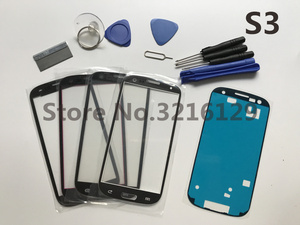 Image 1 - 삼성 갤럭시 s3 GT I9300 lcd 터치 스크린 + 접착제 + 도구에 대한 블랙/화이트/블루/레드 i9300 전면 외부 유리 렌즈 교체