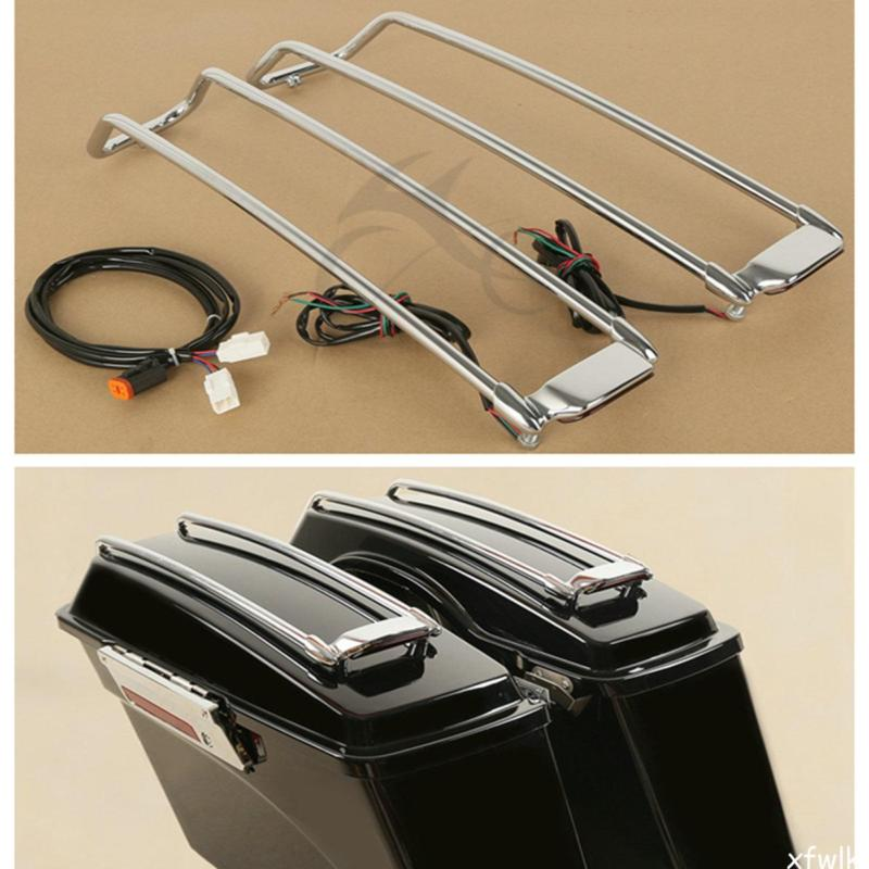 TCMT Chrome Black Saddlebag Lid Top Rail For Harley Touring Road King Electra Street Glide FLHT FLHX 1994-2013