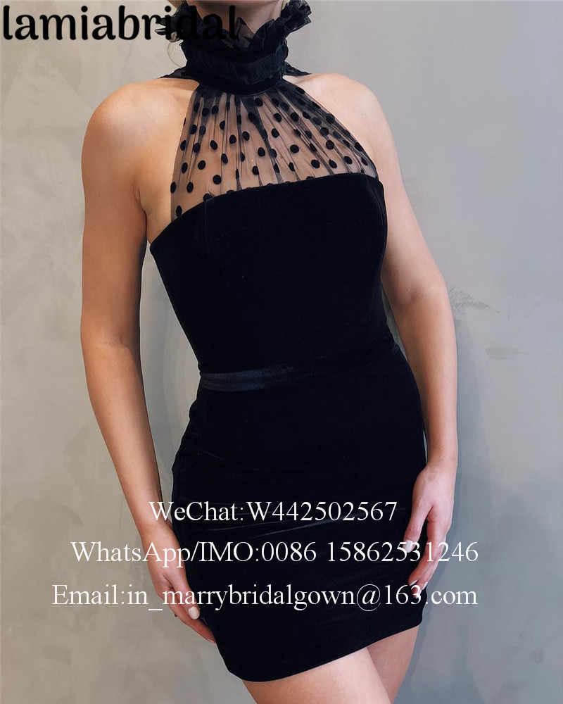 83184f9043 Sexy Black Velvet Short Cocktail Party Dresses 2019 High Neck Plus Size  Cheap Ever Pretty Formal