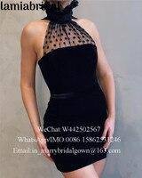 Sexy Black Velvet Short Cocktail Party Dresses 2019 High Neck Plus Size Cheap Ever Pretty Formal Celebrity Robe Vestidos Coctel