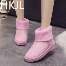 HKJL 2019 boots women winter wool mouth flat bottom female snow thickened plus velvet tube shoes Z028