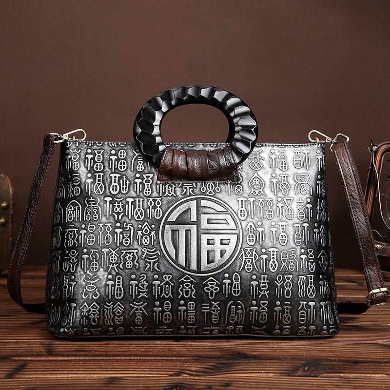 Aetooブランドは新しいレトロハンドブラシカラーハンドバッグヘッド層革カジュアルバッグメッセンジャーバッグ中国スタイルリアルレザー女性  グループ上の スーツケース & バッグ からの トップハンドルバッグ の中 2