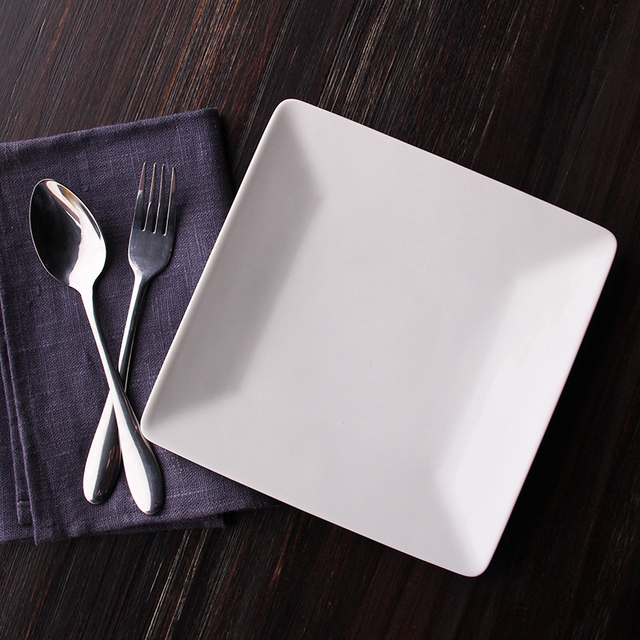 Japan imported white square plate of plain white dinner plates simple side dish steak dish Western & Japan imported white square plate of plain white dinner plates ...