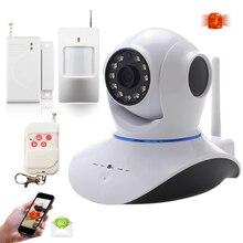 Alta Calidad Wireless Pan Tilt 720 P Red de Seguridad CCTV Cámara IP WIFI Webcam + sensor de la puerta del sensor de infrarrojos + control remoto