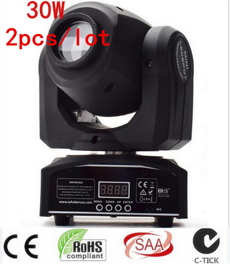 fast shipping HOT/ 2pcs/lot led 4IN1 30W mini led spot moving head light Mini Moving Head Light 30W DMX dj 8 gobos effect stage