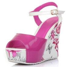 2015 neue keile offene spitze sandalen Sticken Solide Solide Ankle Strap damenschuhe dicken high heels pumps damen lackleder PU