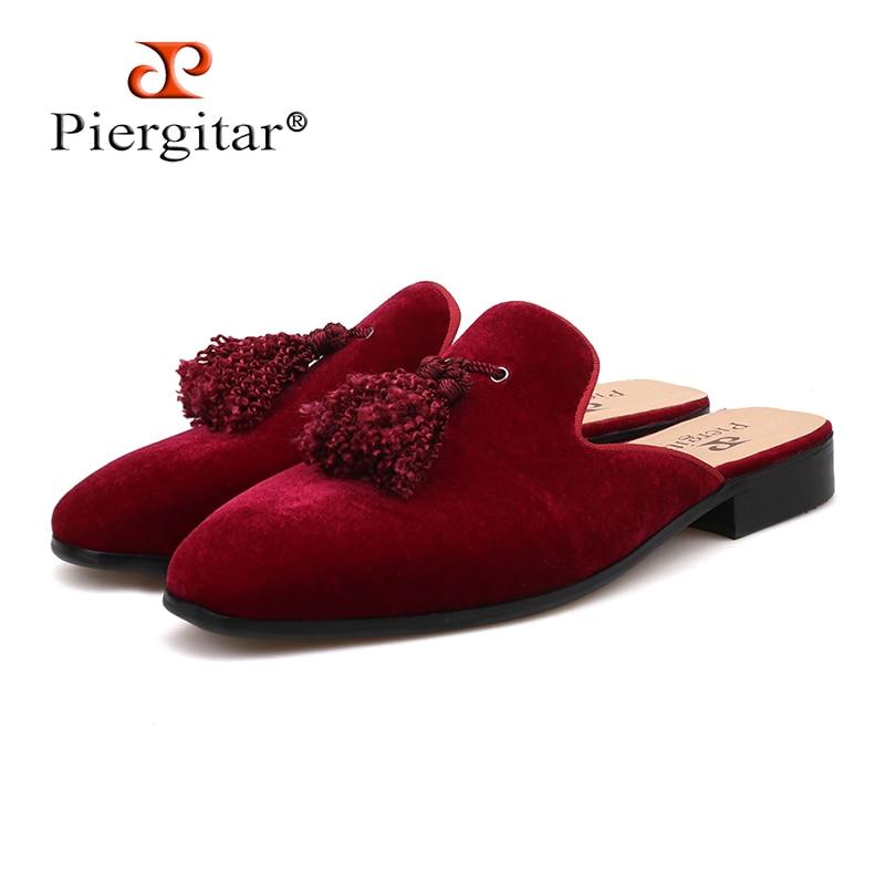 Piergitar brand Handmade men velvet slippers of exquisite tassel for fashion party and banquest men's half designs loafers