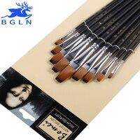 9Pcs Set Nylon Hair Paint Brush Set Flat Water Chalk Gouache Watercolor Painting Brush Pen Art
