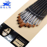 Bgln 9 unids/set pincel de pintura de aceite de nailon pincel plano para óleo, pincel acrílico pincel para pintura suministros de arte 801
