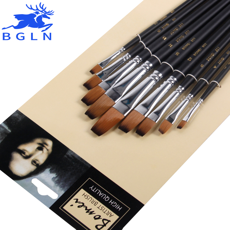 Bgln 9pcs/set Nylon Oil Paint Brush Flat Painting Brush For Oil , Acrylic Brush Pen pincel para pintura Art Supplies 801 14pcs different shape acrylic oil painting brush suit wooden handle brushes drawing tool paint pen with bag art supplies