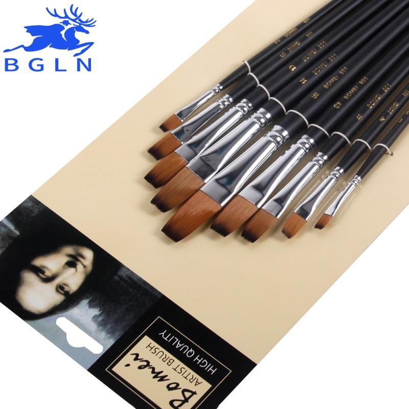9Pcs/Set Nylon Hair Paint Brush Set Flat Water Chalk Gouache Watercolor Painting Brush Pen Art Supplies Student Stationery