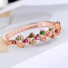 gemstone fine jewelry factory 2019 new-designed trendy  925 sterling silver natural colorful tourmaline bangle for female ztung lvs1 for us trendy teardrop real zircon bracelet bangle solid 925 sterling silver gemstone fine jewelry bangle best gift