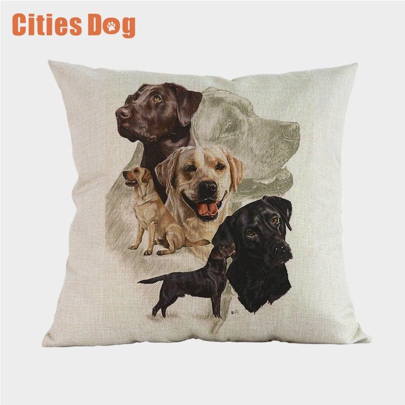 Tier Hund Labrador Retriever Kissen Kissenbezug Baumwolle Leinen Dekorative Kissen Verwenden Für Startseite Sofa Almofadas Cojines