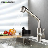 Lead Free Hot Cold Kitchen Mixer Tap Brushed Kitchen Sink Faucet SUS304 Stainless Steel Kitchen Faucet