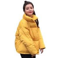 2019 mulheres jaqueta de inverno gola com dois bolsos grandes casaco feminino algodão acolchoado womens casaco feminino inverno quente